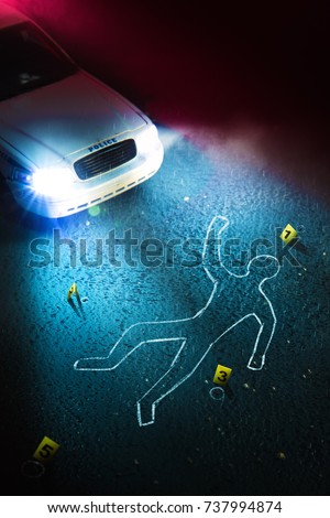 Crime scene with body outline, evidence markers and a police car with dramatic lighting