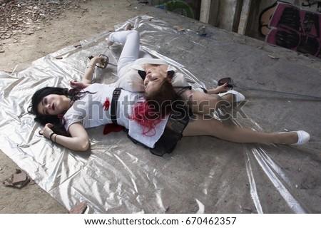 Crime Scene Dead Body Of A Murdered Stock Photo