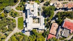Crimea. Livadia Palace - located on the shores of the Black Sea in the village of Livadia in the Yalta region of Crimea. The inscription translated into English - Livadia Palace 1911-2020