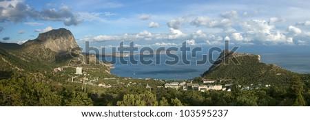 Crimea mountains and Black sea landscape, evening lighting - stock photo