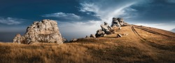 Crimean landscape, clouds in the mountains. Travels in Crimea.