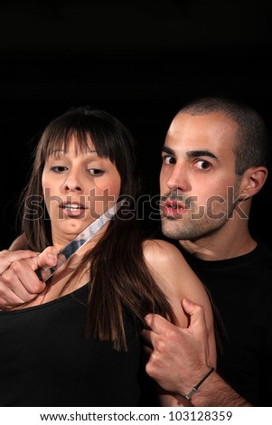 criminal kidnapping a girl with a knife