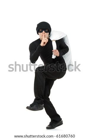 Criminal running away carrying a bag isolated against white background