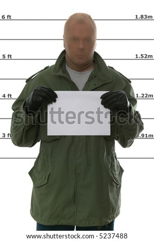 Criminal's mugshot, blank sign for your own text.