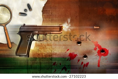 Criminality themed composition, showing a firing gun and some bullet holes. Digital illustration.