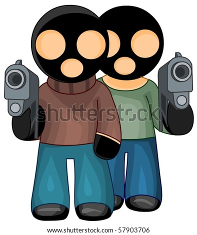 Criminals in black masks with guns isolated.