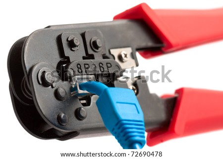 Crimping tool with RJ45 jack. Isolated on white.