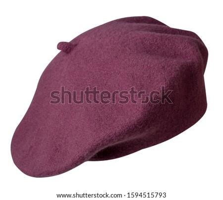 crimson beret isolated on white background. hat female beret .