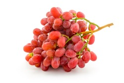 Crimson seedless grapes bunch isolated on white background.