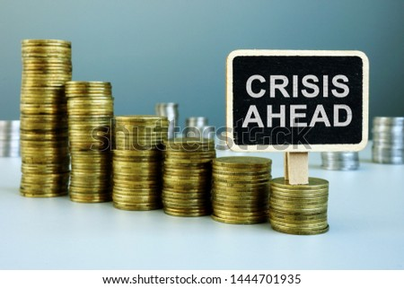 Crisis ahead concept. Financial chart from coins. #1444701935