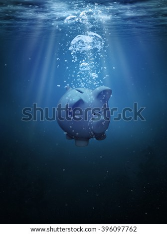 Crisis concept, drowning piggy bank with copy space Stock photo ©