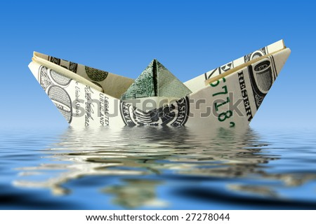 crisis concept. money ship wreck in water - stock photo
