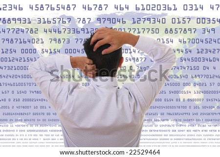 Crisis Concept - Stressed man looking to statistic numbers - stock photo