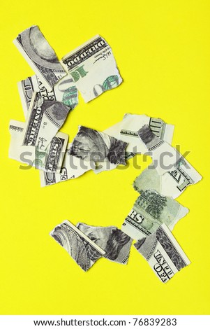 Crisis - Dollar sign over yellow background - stock photo