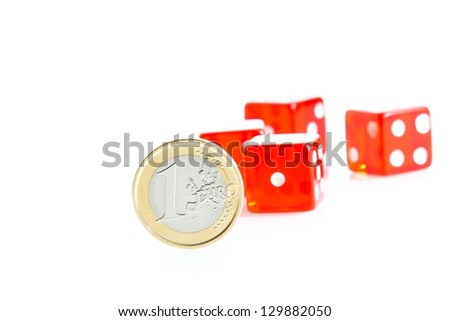crisis, euro coins and red dice on background