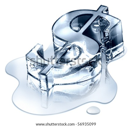 Crisis finance - the dollar symbol in melting ice - devaluation money -  symbolizing the bankruptcy or devaluation of money