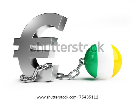 crisis in ireland on white background