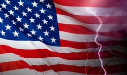 Crisis in the US. Lightning on the background of the American flag. Problems of American politics. Economic crisis in the United States of America. The recession in the USA.