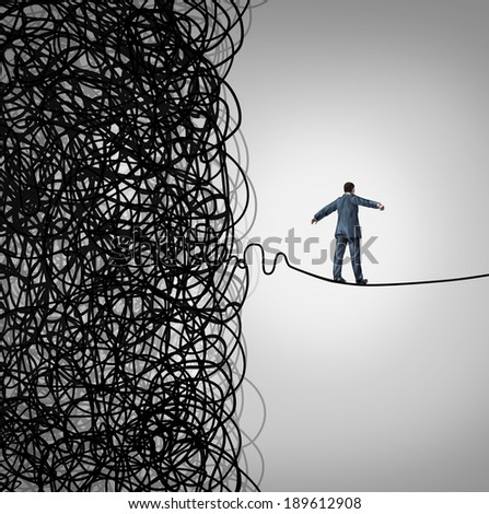 Crisis Management business concept as a tightrope walker walking out of a confused tangled chaos of wires breaking free to a clear path of risk opportunity as a metaphor for managing organizations.
