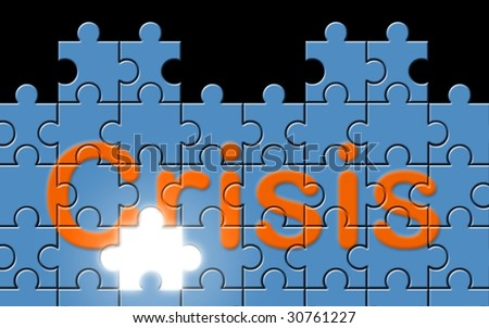 Crisis text written on a puzzle background with missing piece [Photo Illustration]