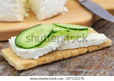 Crisp bread with curd cheese and cucumber  Photo stock ©