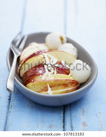 Crisp fruit with white chocolate - stock photo