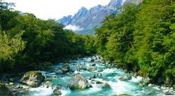 Crisp river flows in the moutain range