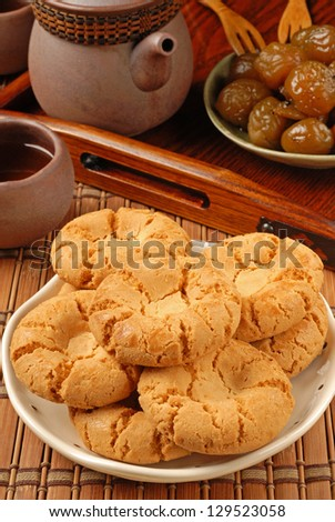 Crisp walnut cookie  on the plate