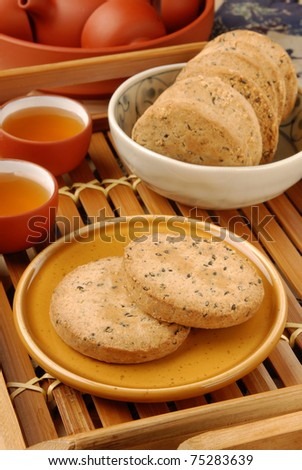 Crisp walnut cookie  on the plate