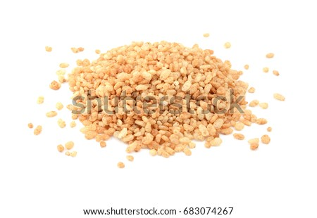 Crisped rice breakfast cereal, isolated on a white background