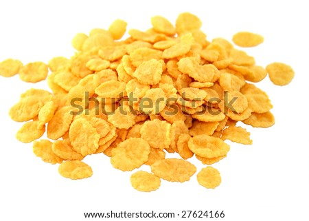 Crispy corn flakes. An isolated object. White background.