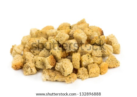 crispy croutons isolated on a white background