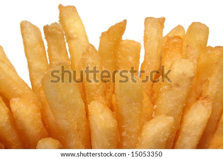 Crispy crunchy french fries close-up on a white background