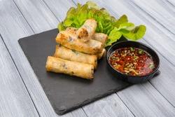 Crispy fried asian spring rolls