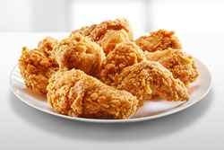 crispy fried chicken in a white table