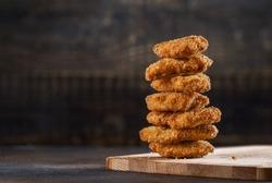 Crispy fried chicken nuggets.