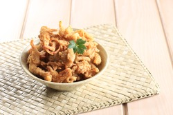 Crispy Fried Oyster Mushroom or Jamur Krispi. Oyster Mushroom Coated with Spiced Flour and Depp Fried. Usually Served with Tomato Sauce