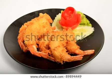 Crispy fried shrimp ready to be serve (Tempura)