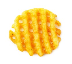 Crispy potato frie waffle, wavy, crinkle cut, criss cross cries isolated on white background.Top view.
