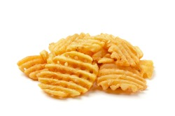 Crispy potato waffles fries, wavy, crinkle cut, criss cross cries isolated on white background
