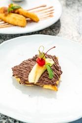 crispy roti with chocolate and banana