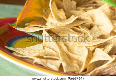 Crispy tortilla chips from snack bag