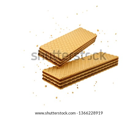 Crispy wafer, chocolate milk flavor, with Clipping path 3d illustration. Сток-фото ©