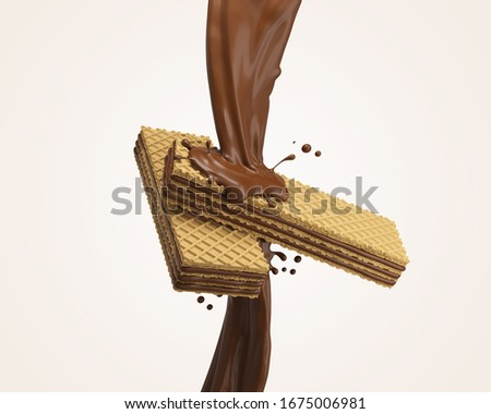crispy wafer with chocolate Splash, with Clipping path 3d illustration. Сток-фото ©
