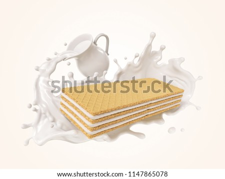 Crispy wafer with Milk Splash form jug, or Vanilla flavor, with Clipping path 3d illustration.