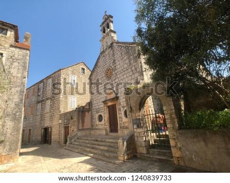 Crkva sv. Roka church in Stari Grad Croatia Stok fotoğraf ©