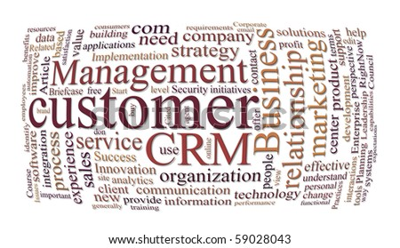 crm customer relations management and marketing word cloud