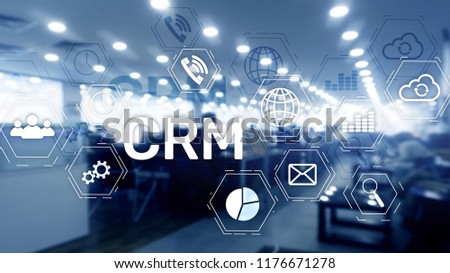 CRM, Customer relationship management system concept on abstract blurred background. #1176671278