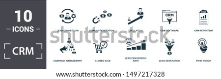 Crm icon set. Contain filled flat campaign management, closed sale, crm reporting, crm software, demand generation, escalation, lead conversion, lead conversion rate icons. Editable format.