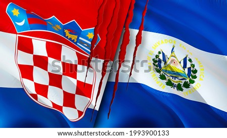 Croatia and El Salvador flags with scar concept. Waving flag,3D rendering. El Salvador and Croatia conflict concept. Croatia El Salvador relations concept. flag of Croatia and El Salvador